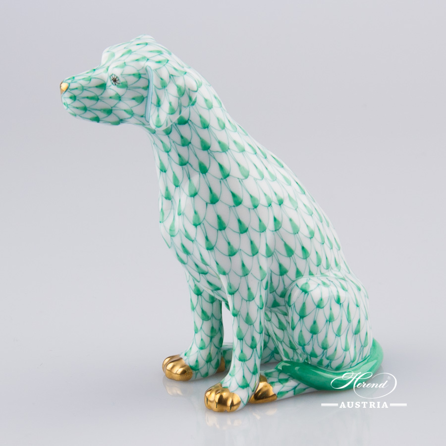 "Dalmatian Dog - Seated 15566-0-00 VHV Green Fish Scale decor. Herend Fine china hand painted. Dalmatian dog animal figurine. Height: 10.0 cm (3.75""H)"