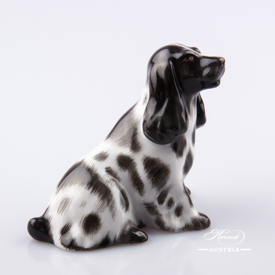 """Dog - Spaniel 15455-0-00 BNCD Naturalistic decor. Herend Fine china animal figurine. Hand painted. Length: 9.5 cm (3.75""""L)"""