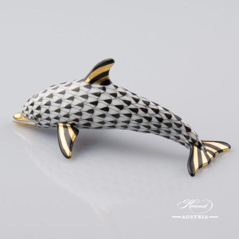 Dolphin 15396-0-00 VHNM Black - Herend Animal Figurine