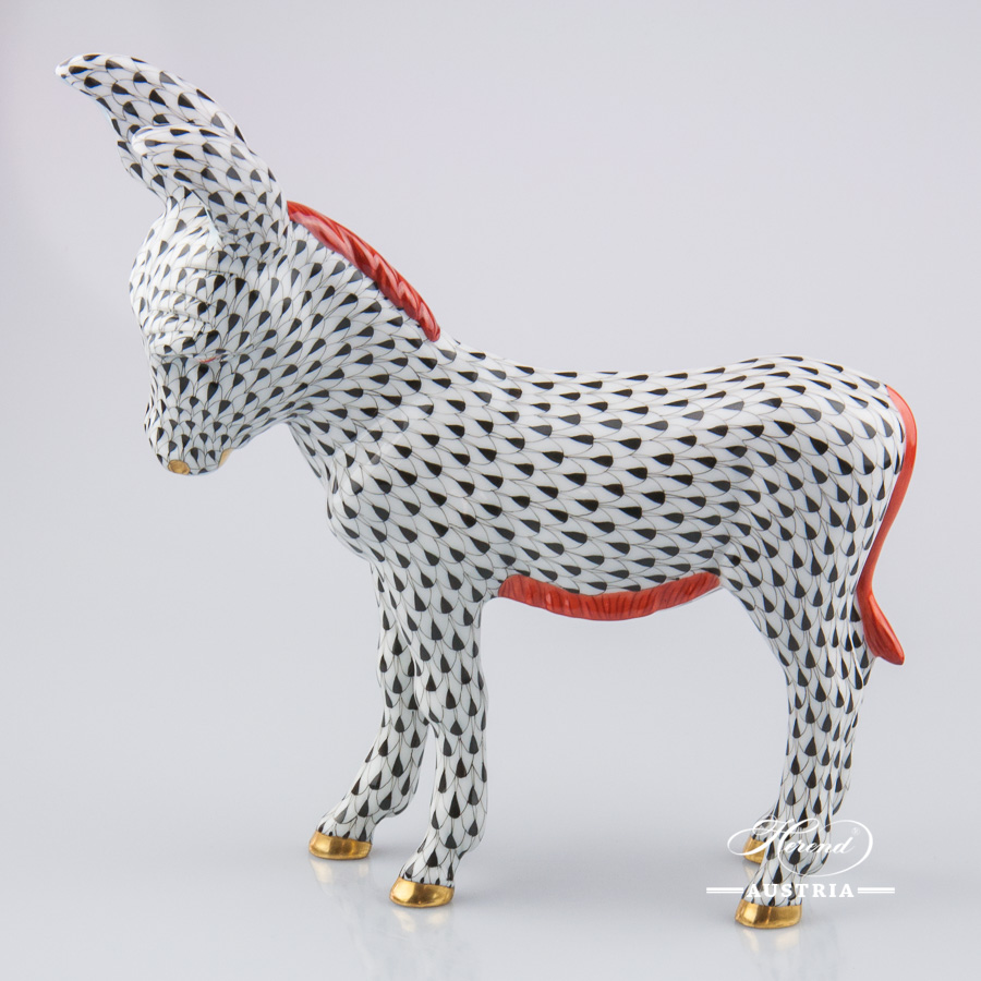 Donkey 15275-0-00 VHN Black - Herend Porcelain Animal Figurine
