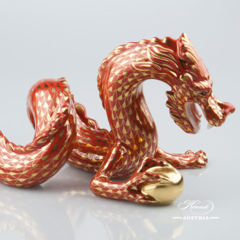 Dragon 15601-0-00 VH-OR Red - Herend Animal Figurine. Worldwide Shipping