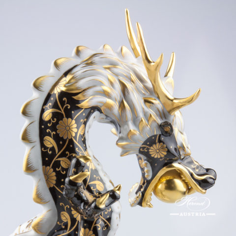 "Big Dragon 5480-0-00 SBCN-OR Black and Gold decor. Herend Fine china animal figurine. Unique high standard figurine. Hand painted. Height: 33.5 cm (13.25""H)"