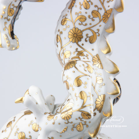 """Big Dragon 5480-0-00 SBCN-OR Black and Gold decor. Herend Fine china animal figurine. Unique high standard figurine. Hand painted. Height: 33.5 cm (13.25""""H)"""