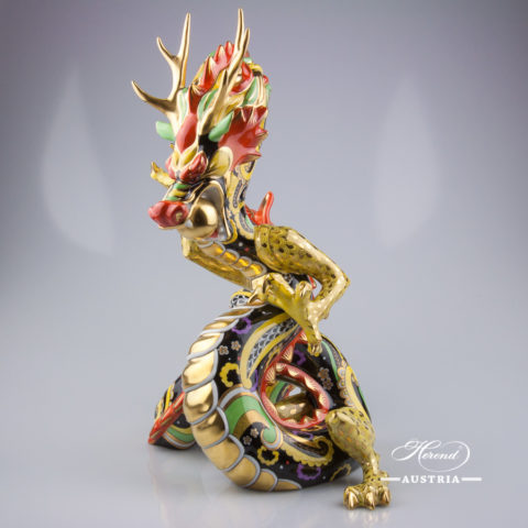 "Big Dragon 5480-0-00 SP410 Special Multicolor decor. Herend Fine china animal figurine. Unique high standard figurine. Hand painted. Height: 33.5 cm (13.25""H)"