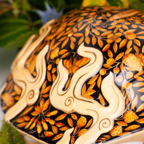 "Dragon Turtle - Herend Orange ZOO and Luxury Butterfly designs. Large Mythological Herend Animal figurine. Herend Fine china. Hand painted. Length 34 cm (13.5""L)."