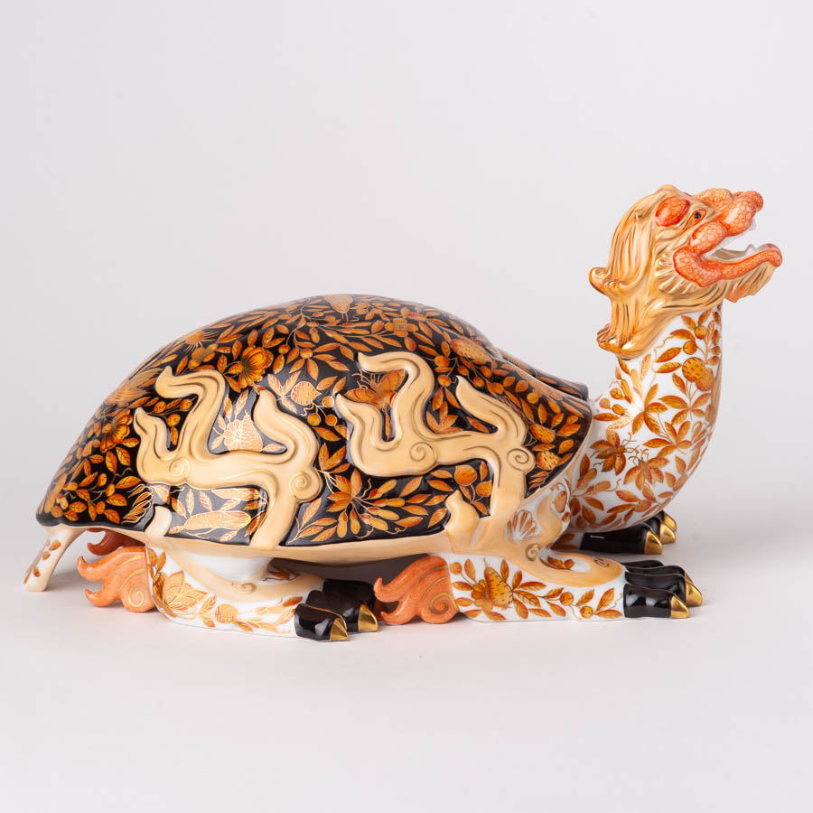 "Dragon Turtle 5947-0-00 SP225VT Luxury Butterfly design. Large Mythological Herend Animal figurine. Herend Fine china. Hand painted. Length 34 cm (13.5""L)."