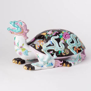 "Small Cat 15512-0-00 VHTQ Turquoise Fish Scale design. Herend Fine china animal figurine. Hand painted. Height: 4 cm (1.5""H)."