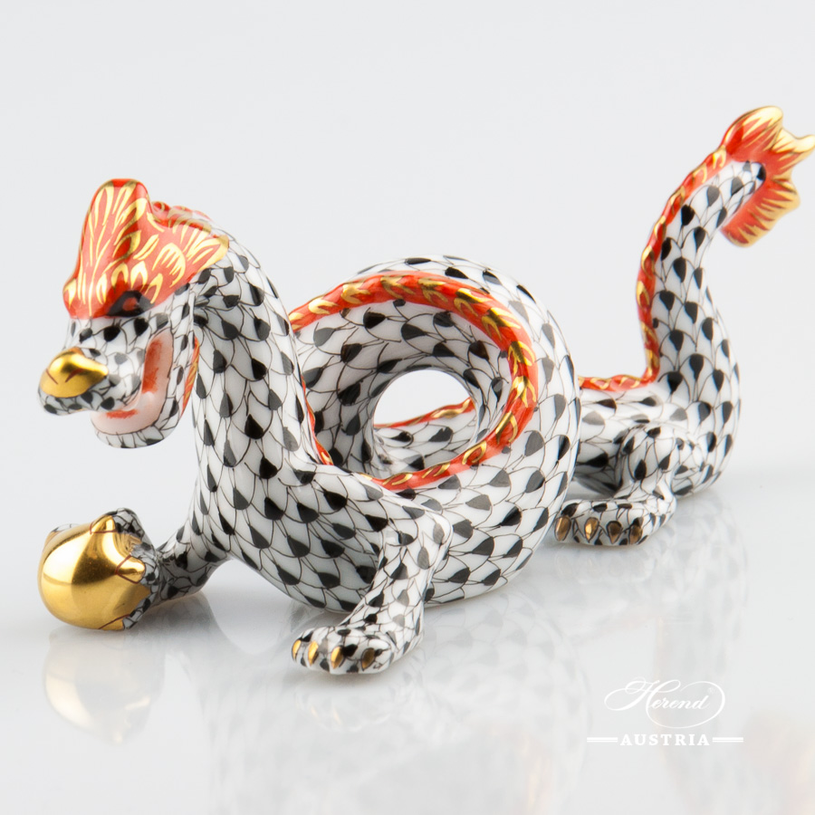 Dragon small 15070-0-00 VHN Black - Herend Animal Figurine