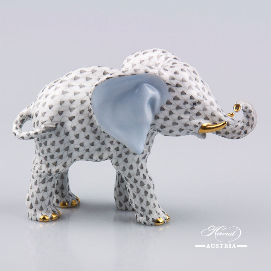 "Elephant 15086-0-00 VHG Grey Fish scale decor. Herend fine china animal figurine. Hand painted. Length: 16.0 cm (6.25""L)"