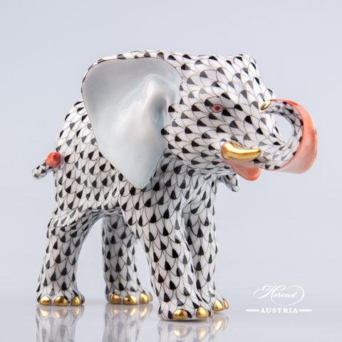Elephant 15086-0-00 VHN Black - Herend Animal Figurine