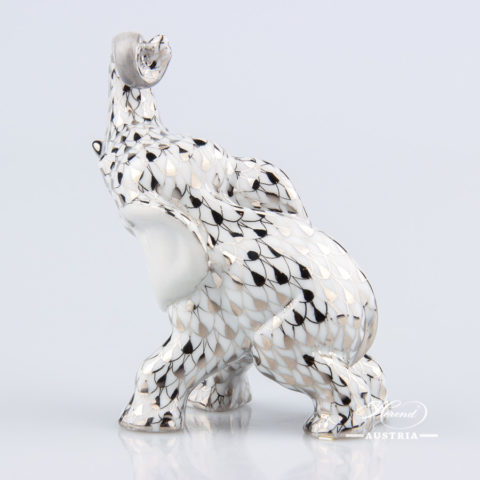 "Elephant 15266-0-00 PTVH Platinum Fish scale decor. Herend fine china hand painted. Herend animal figurine. Height: 8.5 cm (3.5""H)"