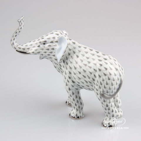 "Elephant 15920-0-00 VHG-PT Grey Fish scale with Platinum decor. Herend fine china animal figurine. Hand painted. Length: 15.0 cm (6""L)"