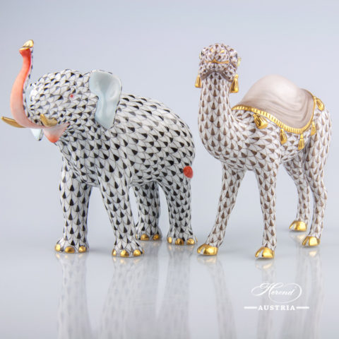 Elephant 15920-0-00 VHN Black and Camel 15515-0-00 VHBR1 Brown Fish Scale patterns. Herend Animal Figurines fine china hand painted
