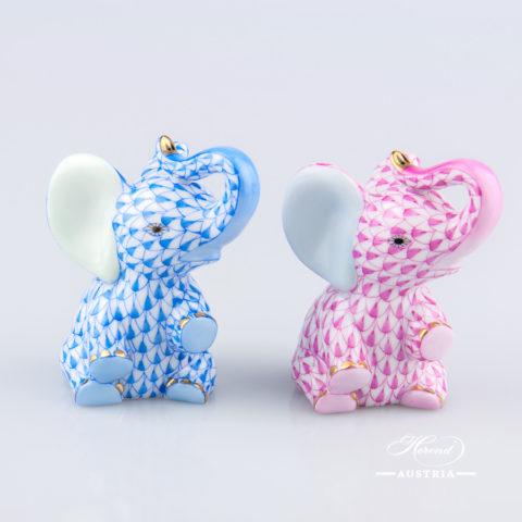 Elephant Baby 15511-0-00 VHB Blue and VHP Pink - Herend Animal Figurines