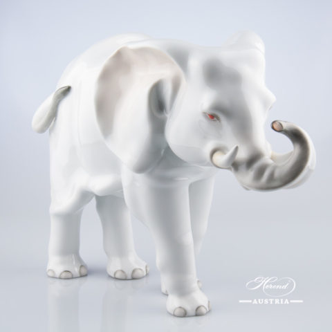"Big Elephant 5214-0-00 C White Naturalistic decor. Herend Fine china animal figurine. Hand painted. Height: 24.7 cm (9.75""H) Length: 34.2 cm (13.5""L)"