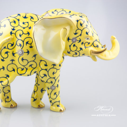 """Big Elephant 5214-0-00 SJ Siang Jaune Special Yellow decor. Herend Fine china animal figurine. Hand painted. Height: 24.7 cm (9.75""""H) Length: 34.2 cm (13.5""""L)"""