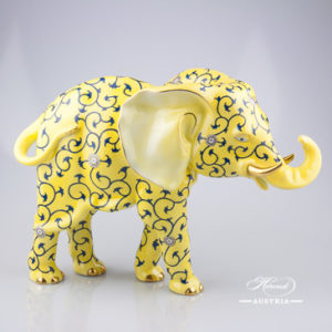 "Big Elephant 5214-0-00 SJ Siang Jaune Special Yellow decor. Herend Fine china animal figurine. Hand painted. Height: 24.7 cm (9.75""H) Length: 34.2 cm (13.5""L)"