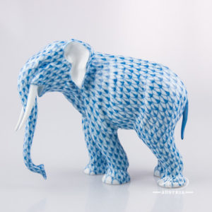 "Elephant 15265-0-00 VHBIG Blue Fish Scale decor. Herend fine china animal figurine. Hand painted. Length: 18.0 cm (7""L)"