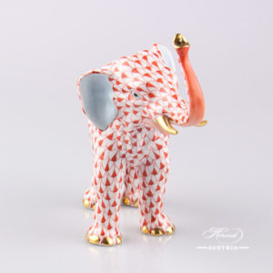 "Elephant 15920-0-00 VHR Red Fish scale decor. Herend fine china animal figurine. Hand painted. Length: 15.0 cm (6""L)"