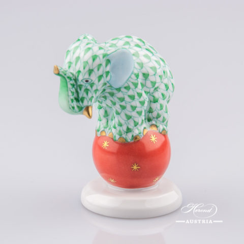 "Elephant on Ball 5215-0-00 VHV Green Fish scale decor. Herend Fine china animal figurine. Hand painted. Height: 6.7 cm (2.5""H)"