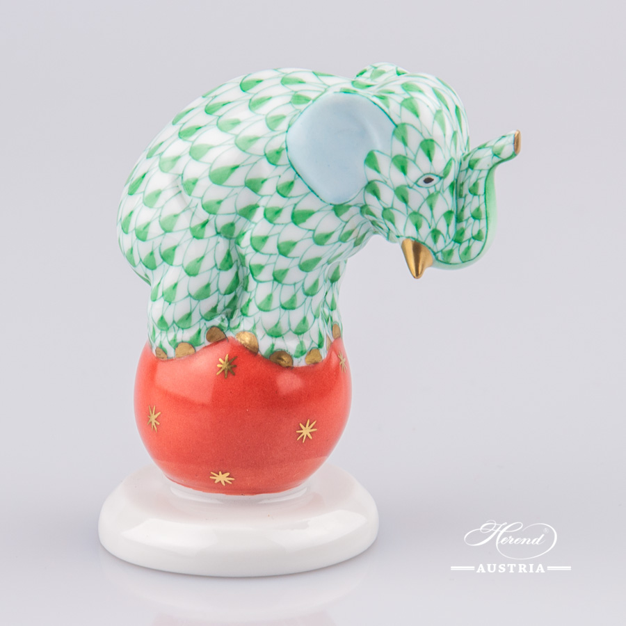"""Elephant on Ball 5215-0-00 VHV Green Fish scale decor. Herend Fine china animal figurine. Hand painted. Height: 6.7 cm (2.5""""H)"""