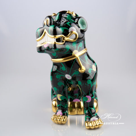 "Fo Dog Big 15295-0-00 SN - Siang Black decor. Herend fine china animal figurine. Hand painted. Height 25.5 cm (10""H)"