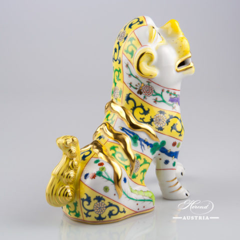 "Fo Dog 15296-0-00 SJ-M - Siang Yellow Special decor. Herend fine china animal figurine. Hand painted. Height 15.0 cm (6""H)"