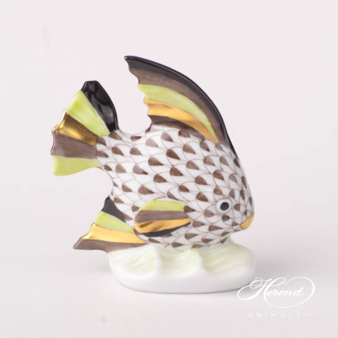 """Fish scale design.Herend fine china animal figurine. Hand painted. Height 14.5 cm (5.75""""H)."""