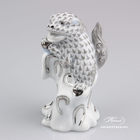 "Fo Dog 5303-0-00 VHG-PT Grey Fish scale with Platinum decor. Herend fine china animal figurine. Hand painted. Height 10.7 cm (4.2""H)"