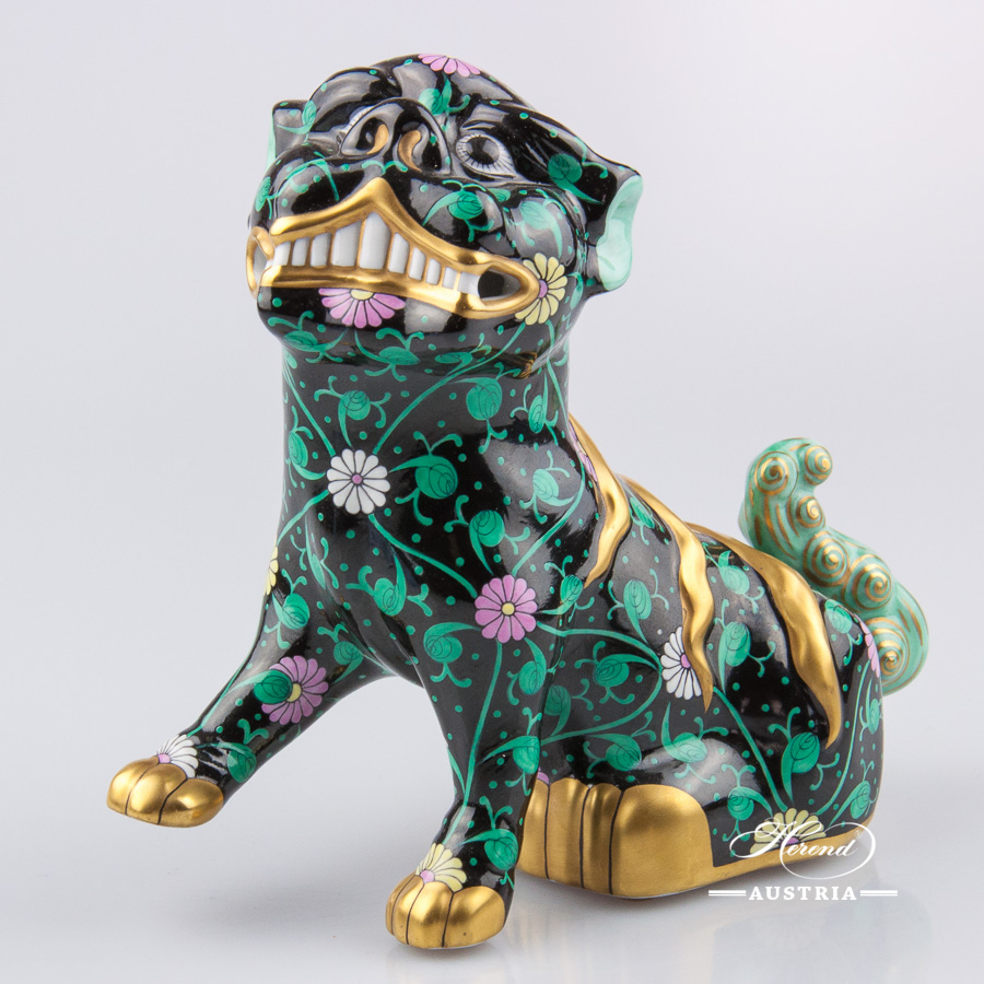 "Fo Dog 5309-0-00 SN - Siang Black decor. Herend fine china animal figurine. Hand painted. Height 15.0 cm (6""H)"