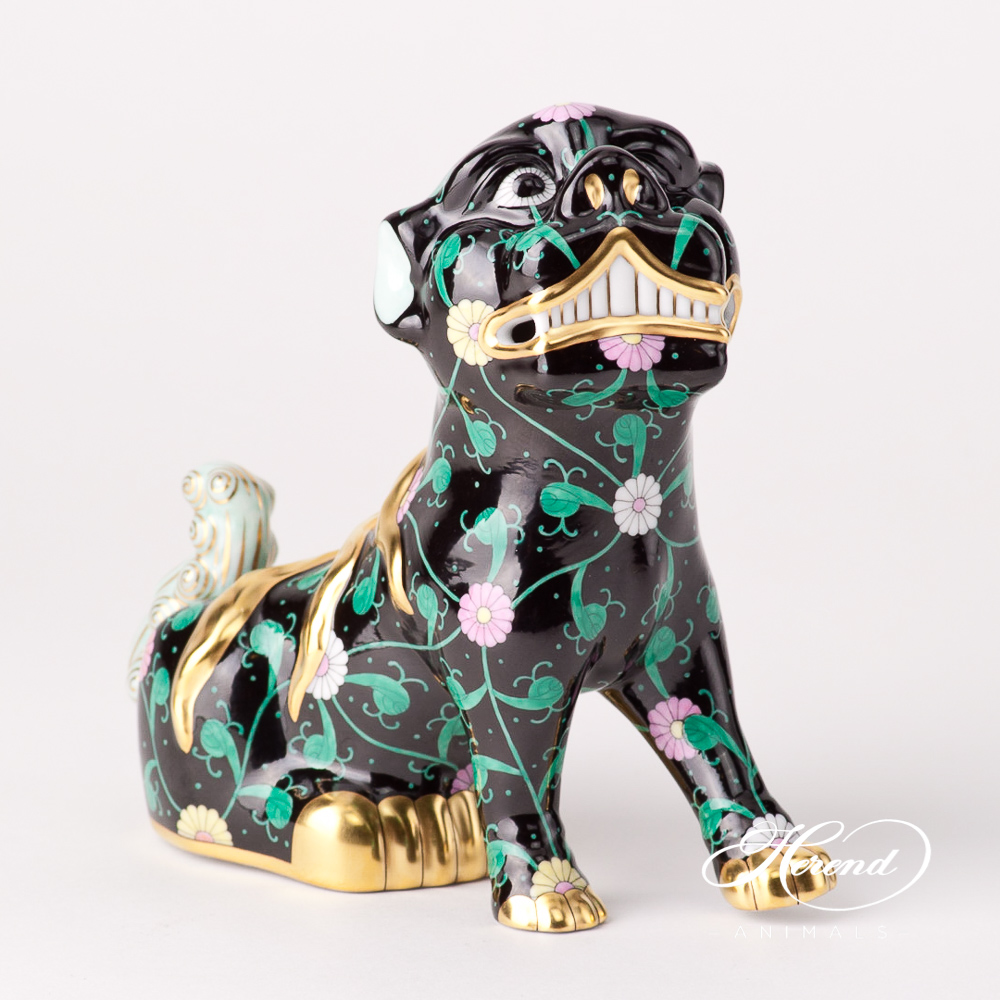"Foo Dog (looking to the right) 15296-0-00 SN Siang Black design. Herend fine china animal figurine. Hand painted. Height 15 cm (6""H)."