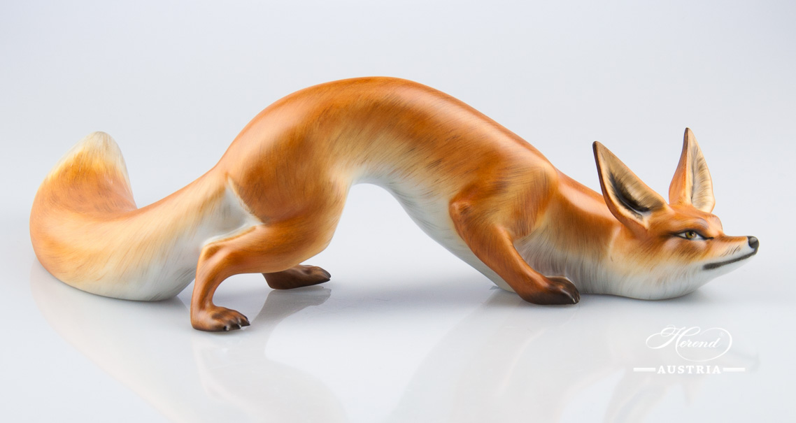 "Fox 15354-0-00 MCD Naturalistic decor. Herend fine china animal figurine. Hand painted. Length: 25.5 cm (10""L)"