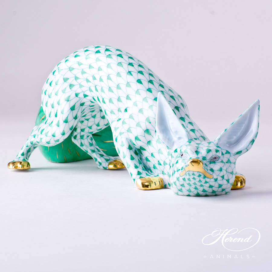 """Fox 15354-0-00 VHV Green Fish scale decor. Herend Fine china animal figurine. Hand painted. Length 25.5 cm (10""""L)"""