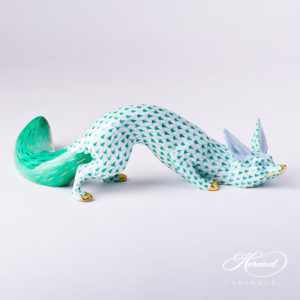 "Fox 15354-0-00 VHV Green Fish scale decor. Herend Fine china animal figurine. Hand painted. Length 25.5 cm (10""L)"