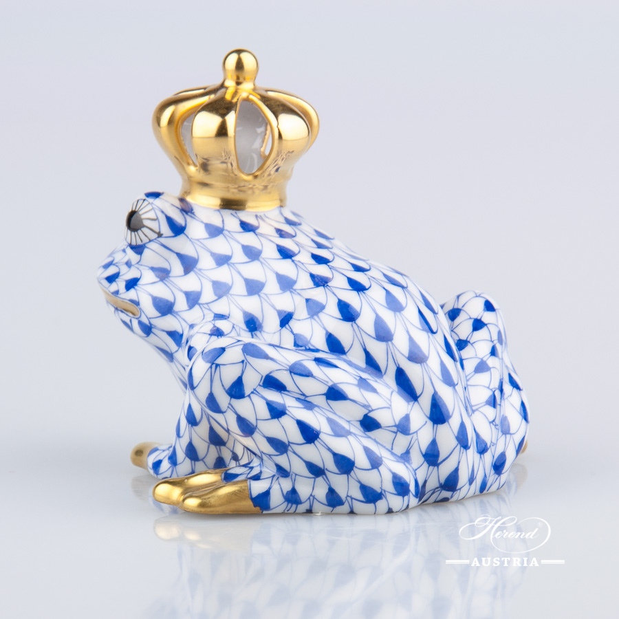 Frog KIng with Crown 15817-0-91 VHFB Blue - Herend Animal Figurine