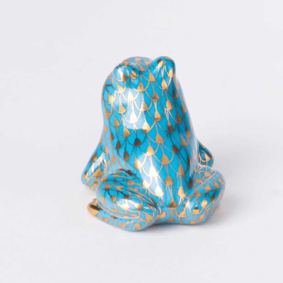 """Frog 15975-0-00 QS Four Seasons flower design. Herend fine china animal figurine. Hand painted. Length 3.5 cm (1.5""""L)."""