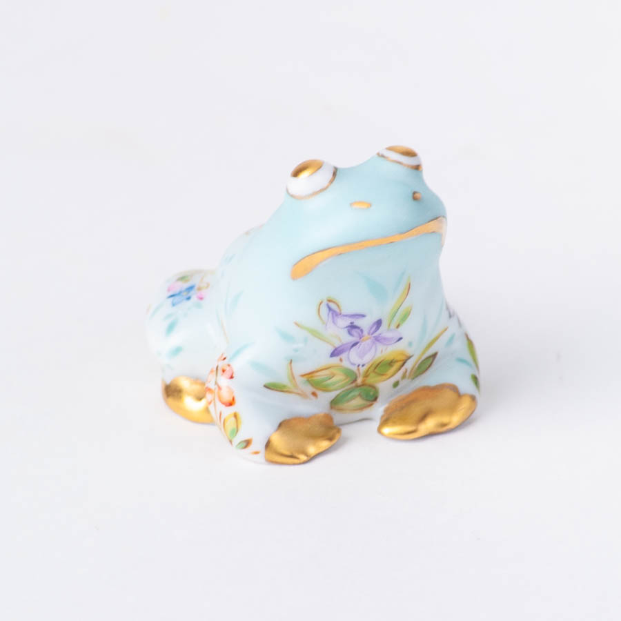 "Frog 15975-0-00 QS Four Seasons flower design. Herend fine china animal figurine. Hand painted. Length 3.5 cm (1.5""L)."