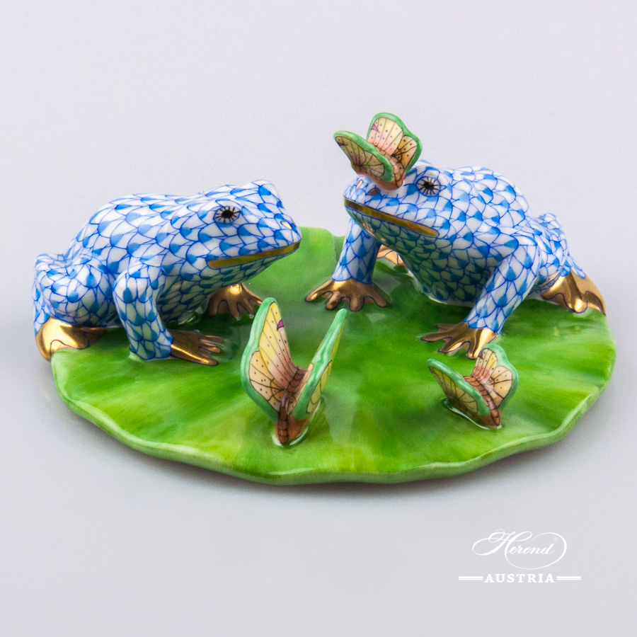 Frog with Butterfly 15926-0-00 VHB Blue - Herend Animal Figurine