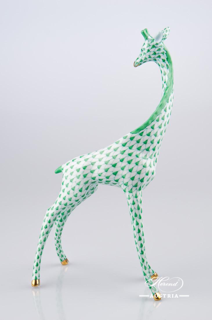 "Giraffe 15329-0-00 VHV Green Fish Scale decor. Herend fine china animal figurine. Hand painted. Height 19.5 cm (7.75""H)"