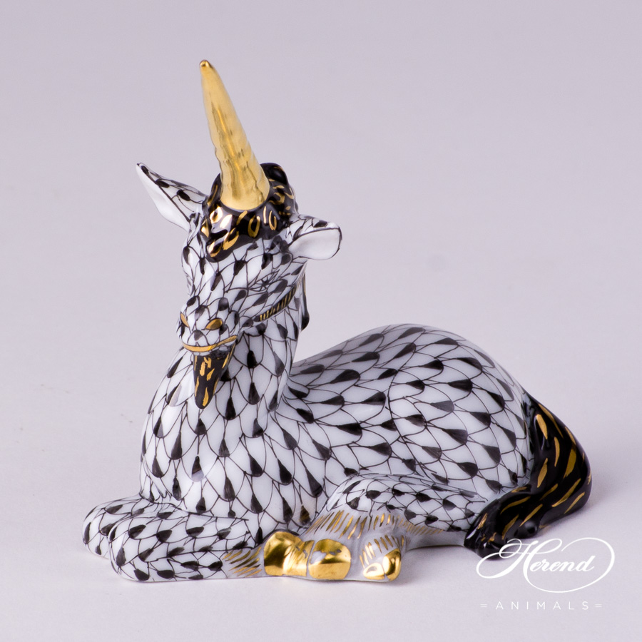 "Unicorn 15359-0-00 VHNM Black Fish scale decor. Herend fine china animal figurine. Hand painted. Length: 7.5 cm (3""L)"