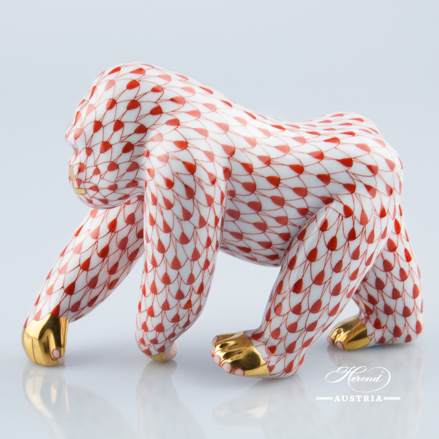 Gorilla 15390-0-00 VHR Red - Herend Animal Figurine