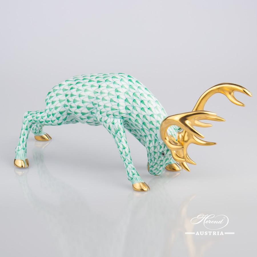 Deer 15592-0-00 VHV Green - Herend Fine china Animal Figurine
