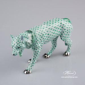 "Wolf 5385-0-00 VHV-PT Green Fish scale w. Platinum design. Herend fine china animal figurine. Handpainted. Length: 19 cm (7.5""L)."