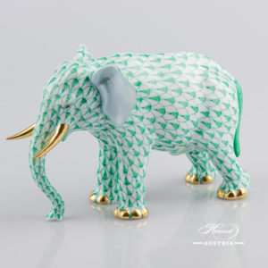 "Elephant 15437-0-00 VHV Green Fish Scale decor. Herend fine china animal figurine. Hand painted. Length: 13.5 cm (5.25""L)"