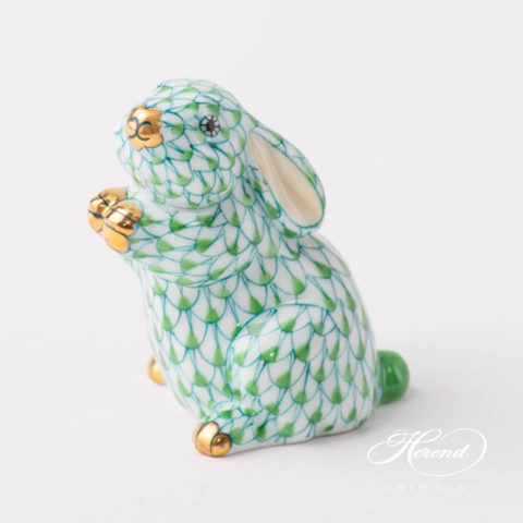 "Elephant 5266-0-00 VHV Green fish scale decor. Herend fine china animal figurine. Hand painted. Length: 12.5 cm (5""L)"