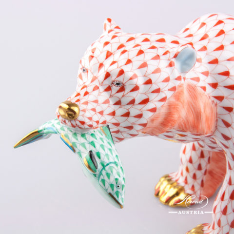"Grizzly - Bear 15665-0-00 VHR Red Fish scale decor. Herend Fine china animal figurine. Hand painted. Length  24.0 cm (9.5""L)"