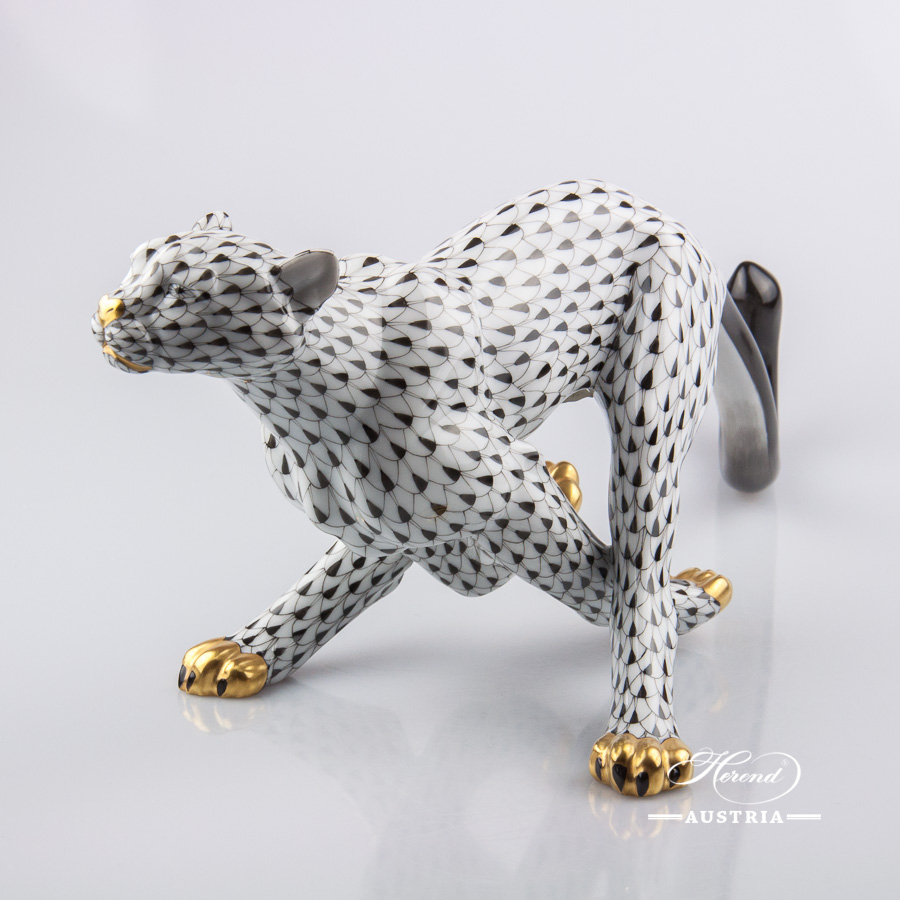 "Guepard / Cheetah 15656-0-00 VHNM Black Fish scale design. Herend Fine china animal figurine. Hand painted. Length: 37 cm (14.75""L)."