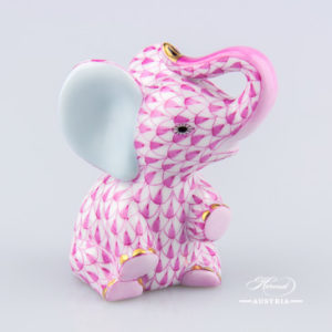 "Baby Elephant 15511-0-00 VHP Purple Fish scale decor. Herend Fine china animal figurine. Hand painted. Height: 7.2 cm (2.75""H)"