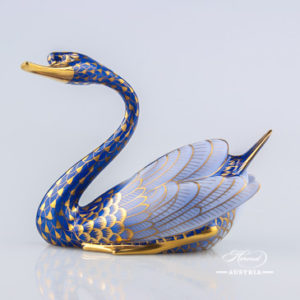 Swan 5194-0-00 VHB-OR Blue - Herend Animal Figurine