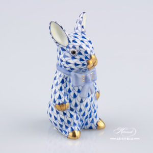 Rabbit with Bowtie 15241-0-00 VHFB Dark Blue - Herend Animal Figurine
